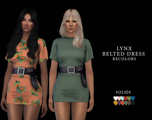 Leo 4 Sims: Belted Dress recolored