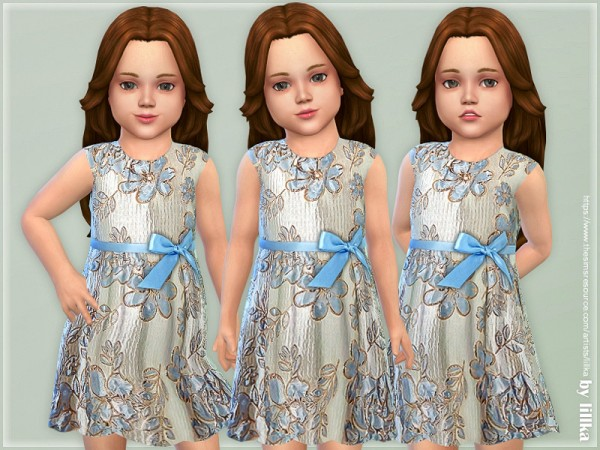 The Sims Resource: Shiny Jacquard Dress by lillka