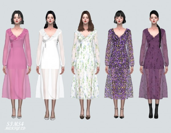 SIMS4 Marigold: Chiffon Frill Wrap Long Dress