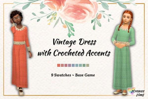 Strenee Sims: Vintage Box Pleat Dress for Girls