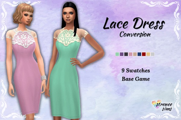 Strenee sims: Ladies Lace Dress Conversion