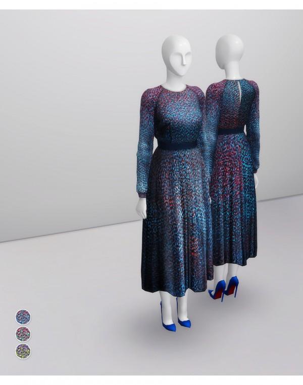 Rusty Nail: Addison Printed multi azure silk Dress