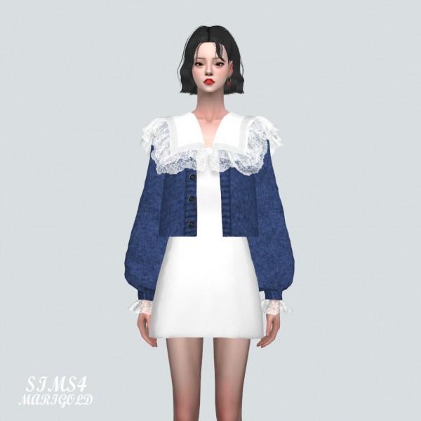 SIMS4 Marigold: Big Lace Collar Mini Dress With Cardigan