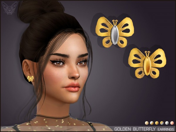 The Sims Resource: Golden Butterfly Stud Earrings by feyona