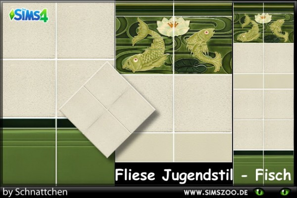 Blackys Sims 4 Zoo: Tile Art Nouveau Fish by Schnattchen