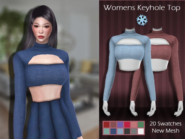The Sims Resource: Womens Keyhole Top by Lisaminicatsims