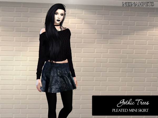 The Sims Resource: Gothic Trees Pleated Mini Skirt by neinahpets