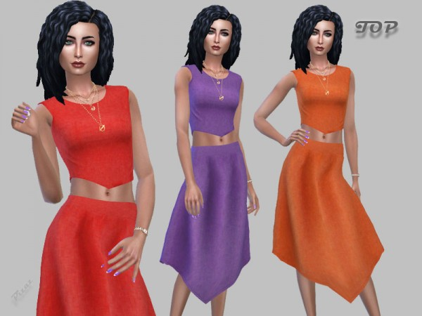 The Sims Resource: V Cut Crop Top by pizazz