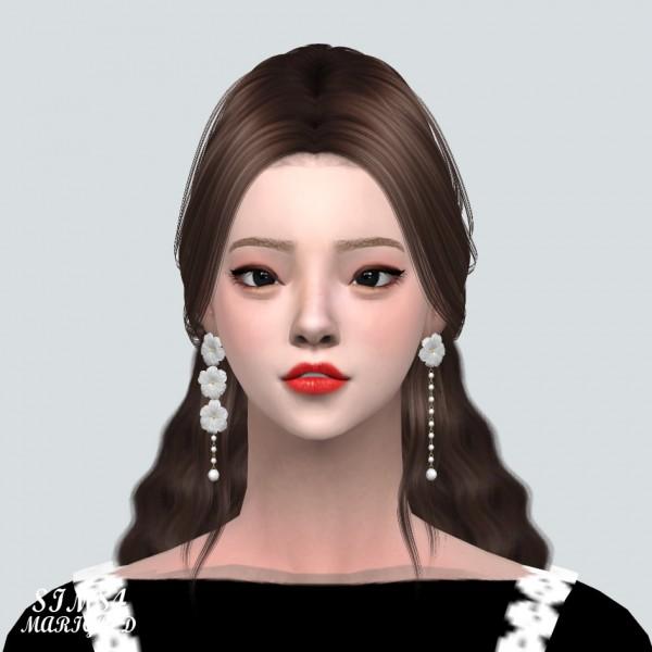 SIMS4 Marigold: Unbalance Flower Pearl Earring
