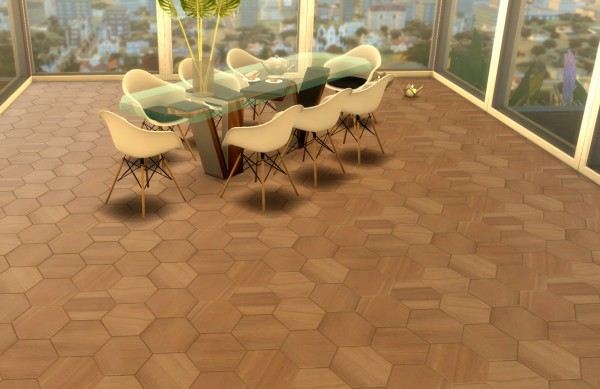 Mod The Sims: Hexagon wood floor, 11 swatches by Velouriah