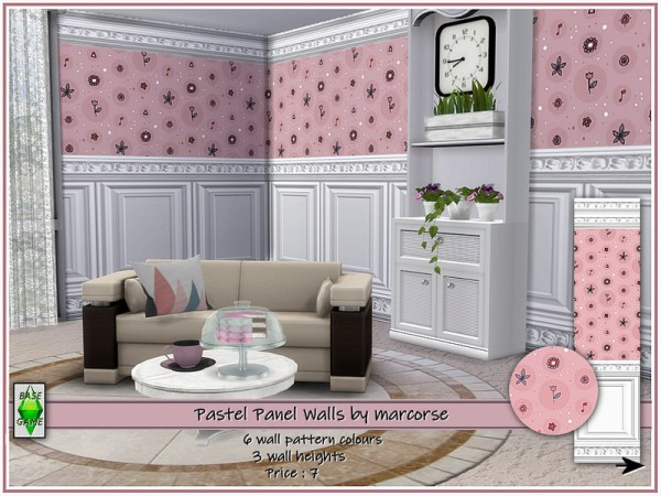 The Sims Resource: Pastel Panel Walls by marcorse