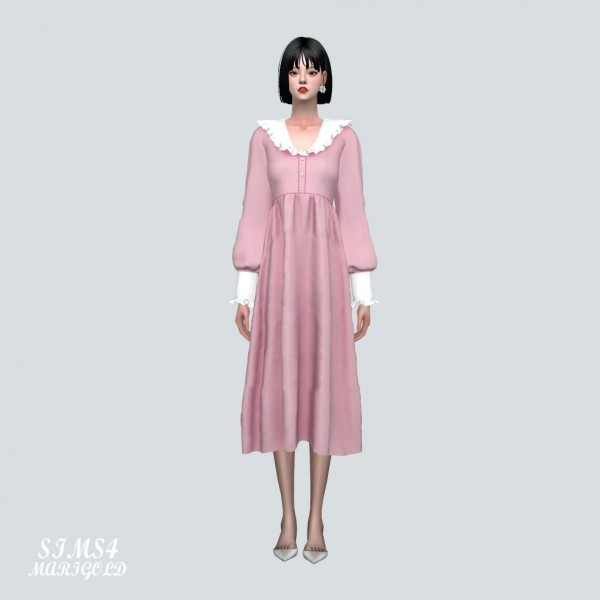 SIMS4 Marigold: Frill Collar Flower Long Dress