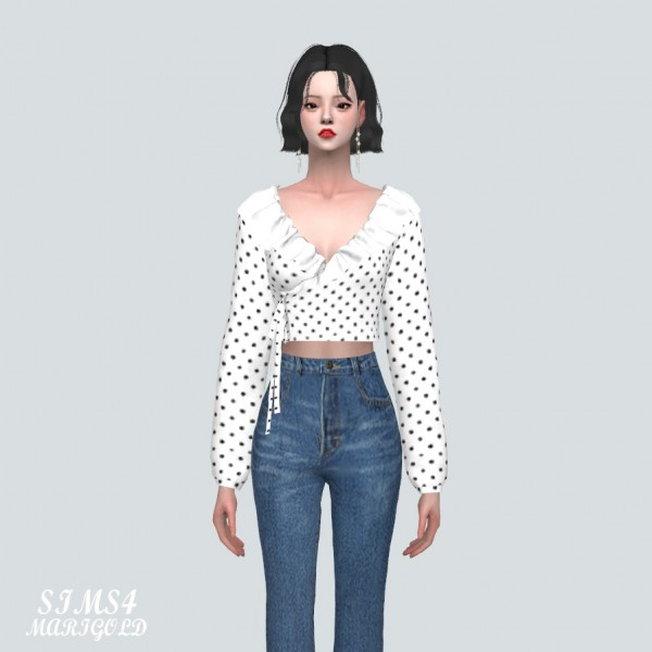 SIMS4 Marigold: Floral Frill Wrap Blouse