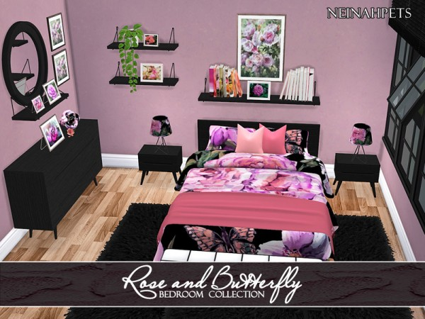 The Sims Resource: Rose and Butterfly Bedroom Collection by neinahpets
