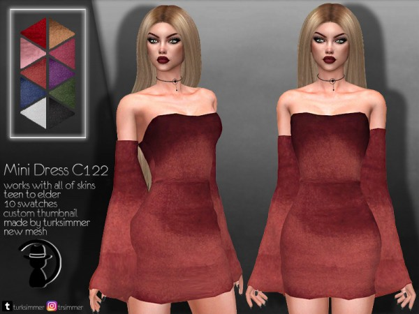 The Sims Resource: Mini Dress C122 by turksimmer