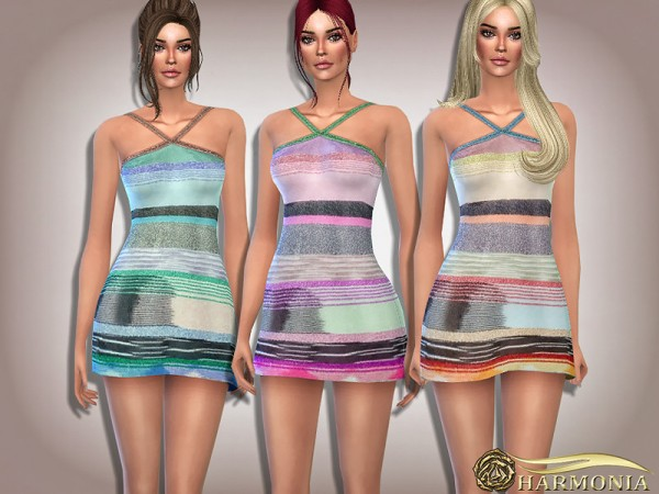 The Sims Resource: Glittering Halter Knit Dress by Harmonia
