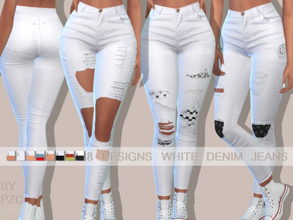 The Sims Resource: Hamptons White Denim Jeans by Pinkzombiecupcakes