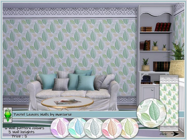 The Sims Resource: Pastel Leaves Walls by marcorse