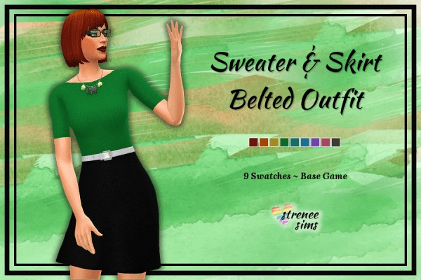 Strenee sims: Sweater and Skirt Belted Outfit