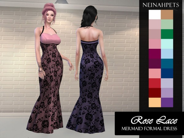 The Sims Resource: Rose Lace Formal Mermaid Gown by neinahpets