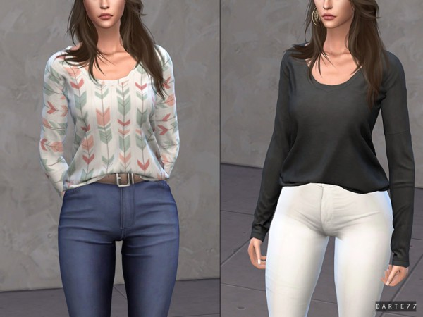 The Sims Resource: Simple Long Sleeve Tee by Darte77