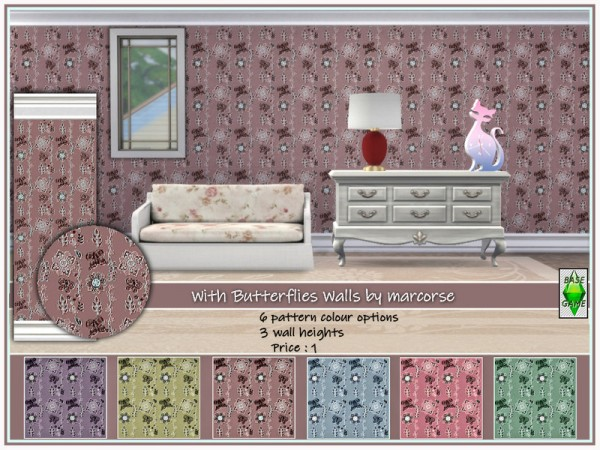 The Sims Resource: With Butterflies Walls by marcorse