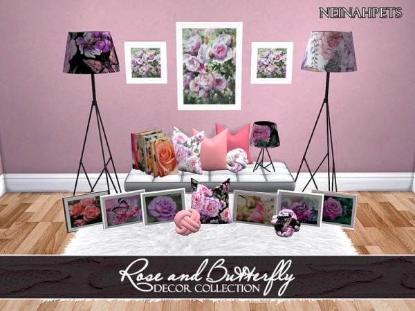 The Sims Resource: Rose and Butterfly Decor Collection by neinahpets