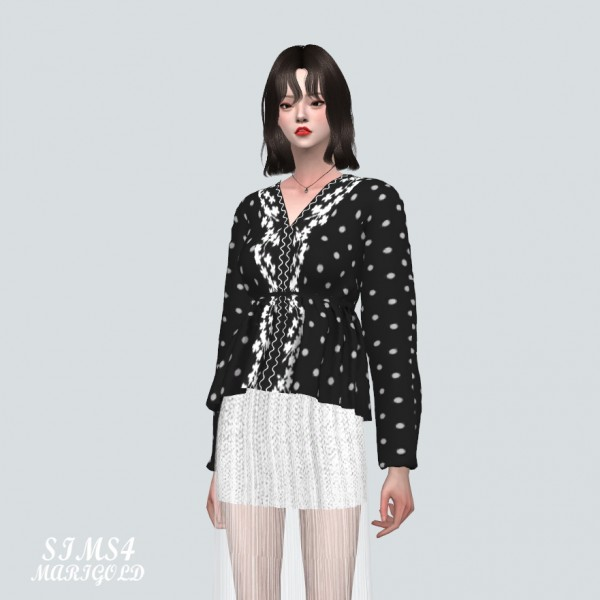 SIMS4 Marigold: Dot Flower Blouse