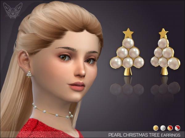 Giulietta Sims: Pearl Christmas Tree Earrings For Kids