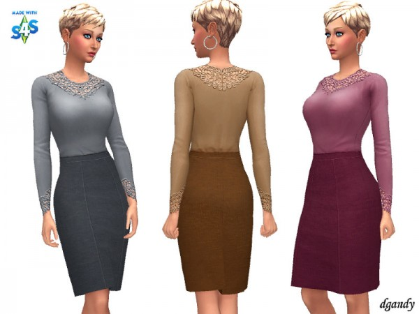 The Sims Resource: Skirt and Blouse 20200108 by dgandy