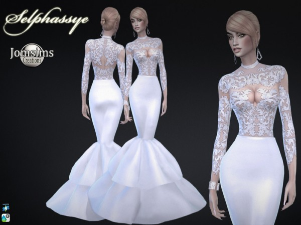 The Sims Resource: Selphassye wedding dress by jomsims