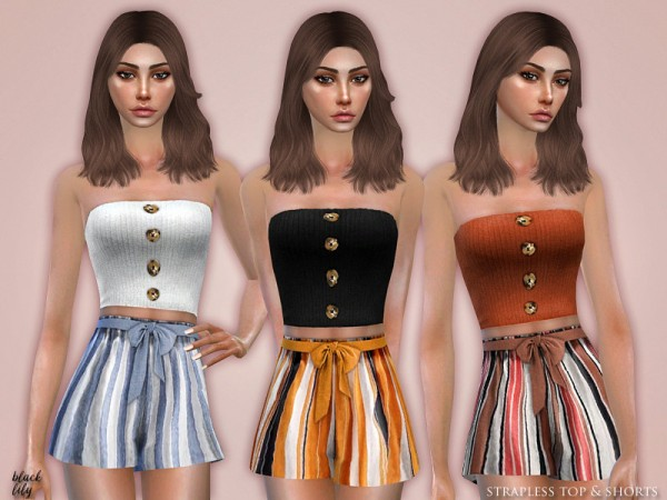 The Sims Resource: Strapless Top and Shorts by Black Lily