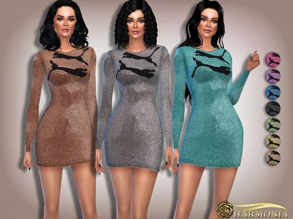 The Sims Resource: Metallic Glitter Logo Dress by Harmonia