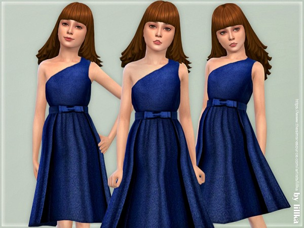 The Sims Resource: Connie One Shoulder Dress by lillka