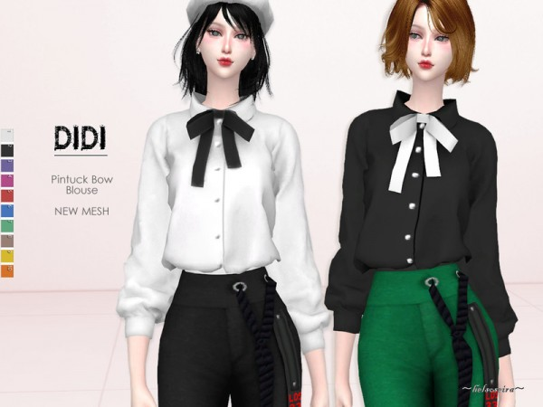 The Sims Resource: Didi   Pintuck Blouse by Helsoseira