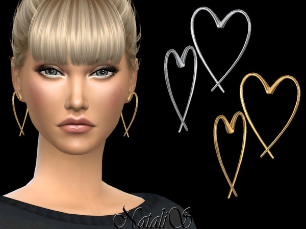 The Sims Resource: Open heart earrings by NataliS