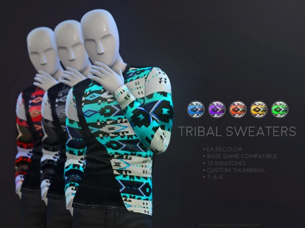 The Sims Resource: Tribal sweaters by sugar owl