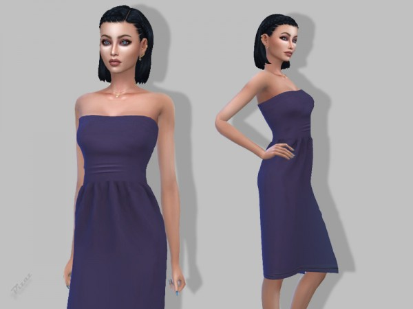 The Sims Resource: Casual Strapless dress by pizazz