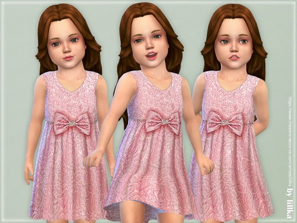 The Sims Resource: Rose Jacquard Bow Dress by lillka
