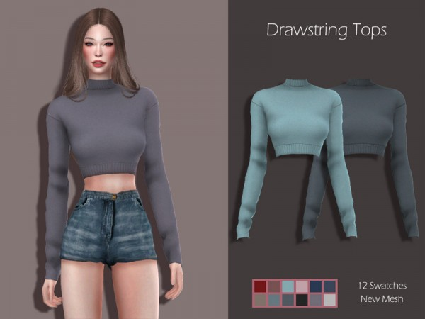 The Sims Resource: Drawstring Tops by Lisaminicatsims