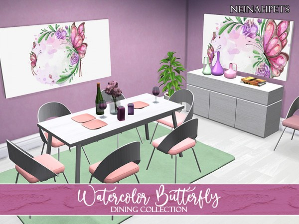 The Sims Resource: Watercolor Butterfly Dining Collection by neinahpets