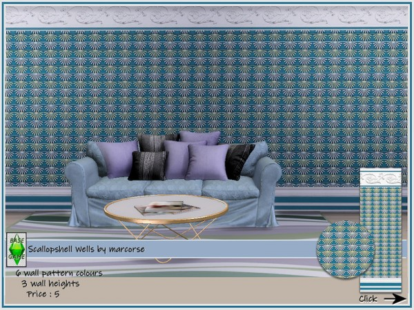 The Sims Resource: Scallop shell Walls by marcorse