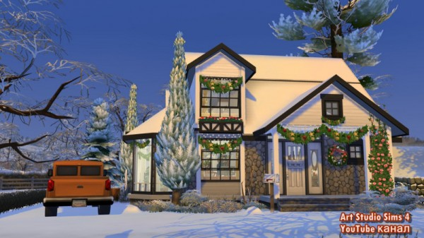 Sims 3 by Mulena: Cozy Winter Cottage No CC