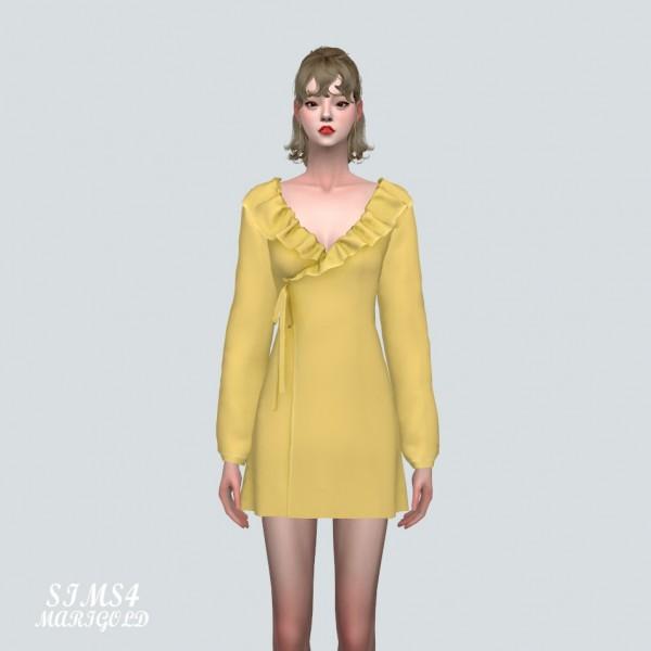 SIMS4 Marigold: Floral Frill Wrap Mini Dress