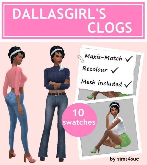 Sims 4 Sue: Dallasgirls clogs