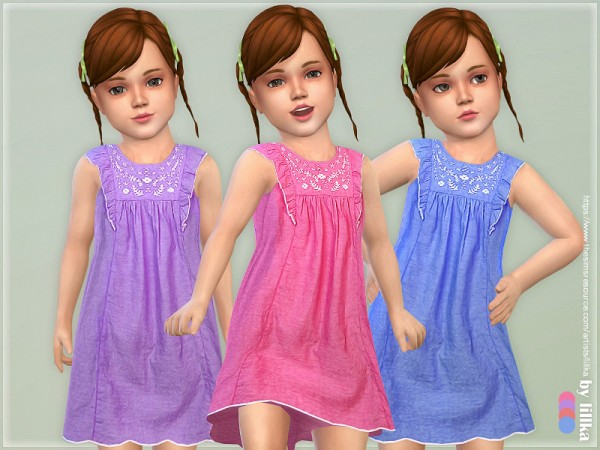 The Sims Resource: Floral Angel Sleeve Toddler Dress by lillka
