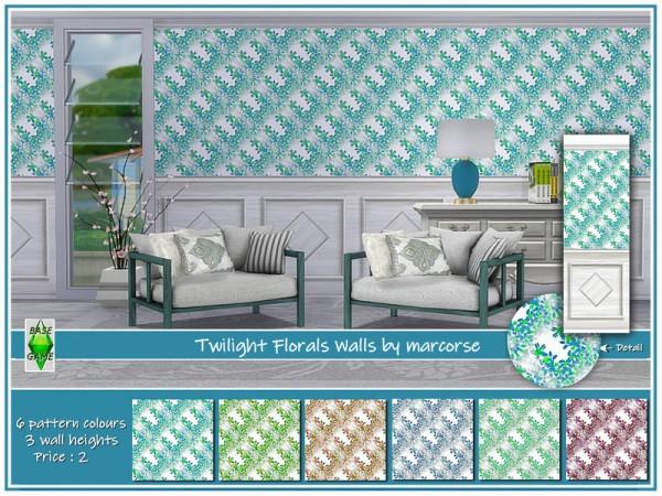 The Sims Resource: Twilight Florals Walls by marcorse