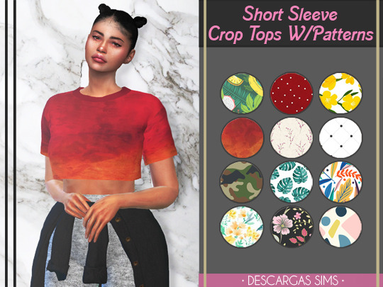 Descargas Sims: Short Sleeve Crop Tops With Patterns