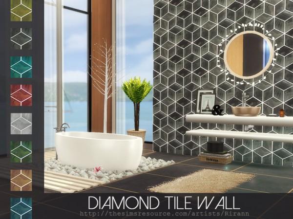 The Sims Resource: Diamond Tile Wall by Rirann