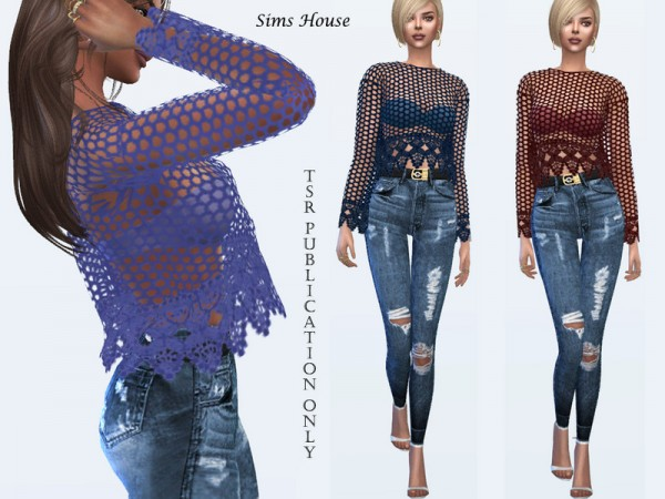 The Sims Resource: Lace Knitted Blouse by Sims House